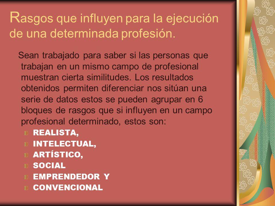 Rasgos que influyen para la ejecución de una determinada profesión.