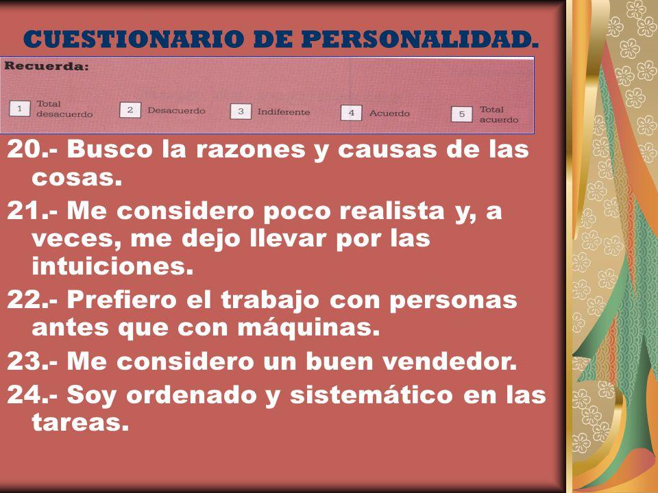 CUESTIONARIO DE PERSONALIDAD.