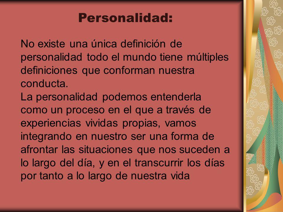 Personalidad: No existe una única definición de personalidad todo el mundo tiene múltiples definiciones que conforman nuestra conducta.