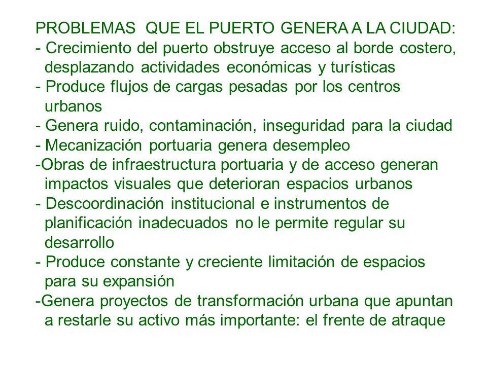 PROBLEMAS QUE EL PUERTO GENERA A LA CIUDAD: