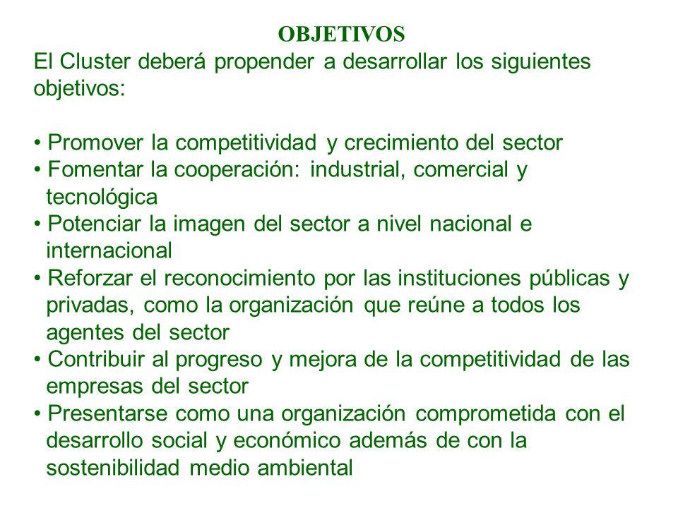 OBJETIVOS El Cluster deberá propender a desarrollar los siguientes. objetivos: Promover la competitividad y crecimiento del sector.