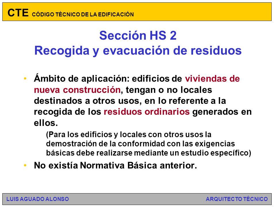 Sección HS 2 Recogida y evacuación de residuos