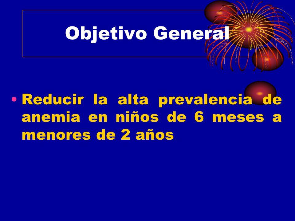 Objetivo General Reducir la alta prevalencia de anemia en niños de 6 meses a menores de 2 años