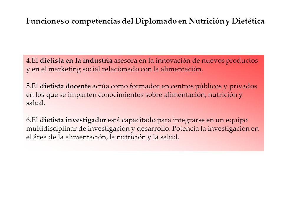 Funciones o competencias del Diplomado en Nutrición y Dietética