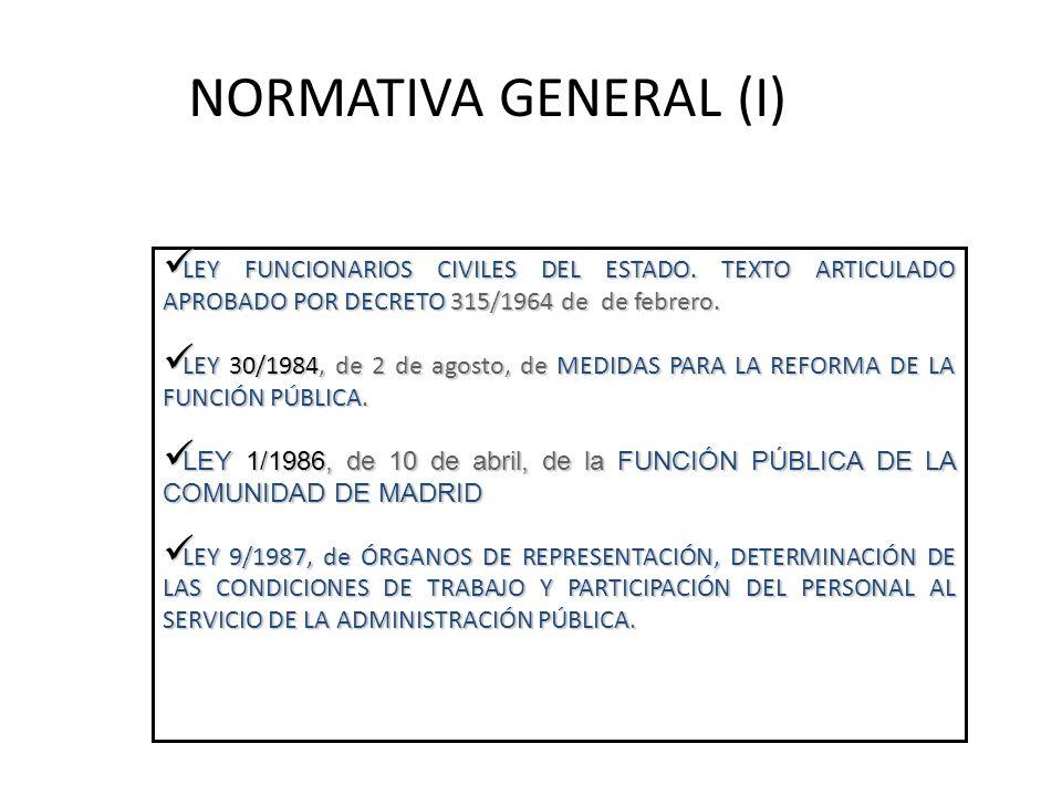 NORMATIVA GENERAL (I) LEY FUNCIONARIOS CIVILES DEL ESTADO. TEXTO ARTICULADO APROBADO POR DECRETO 315/1964 de de febrero.