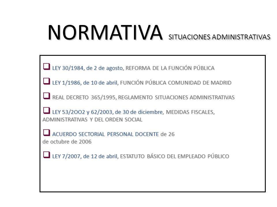 NORMATIVA SITUACIONES ADMINISTRATIVAS