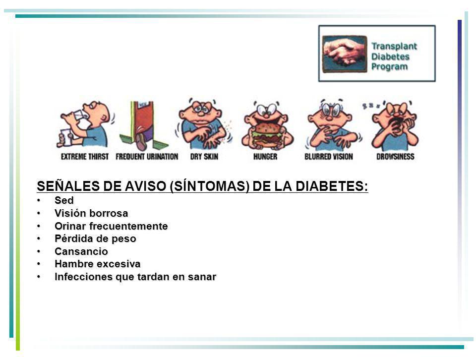 SEÑALES DE AVISO (SÍNTOMAS) DE LA DIABETES: