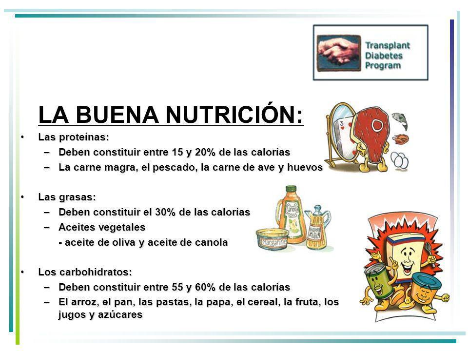 LA BUENA NUTRICIÓN: Las proteínas: Deben constituir entre 15 y 20% de las calorías. La carne magra, el pescado, la carne de ave y huevos.