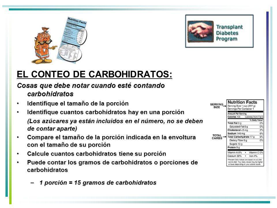 EL CONTEO DE CARBOHIDRATOS:
