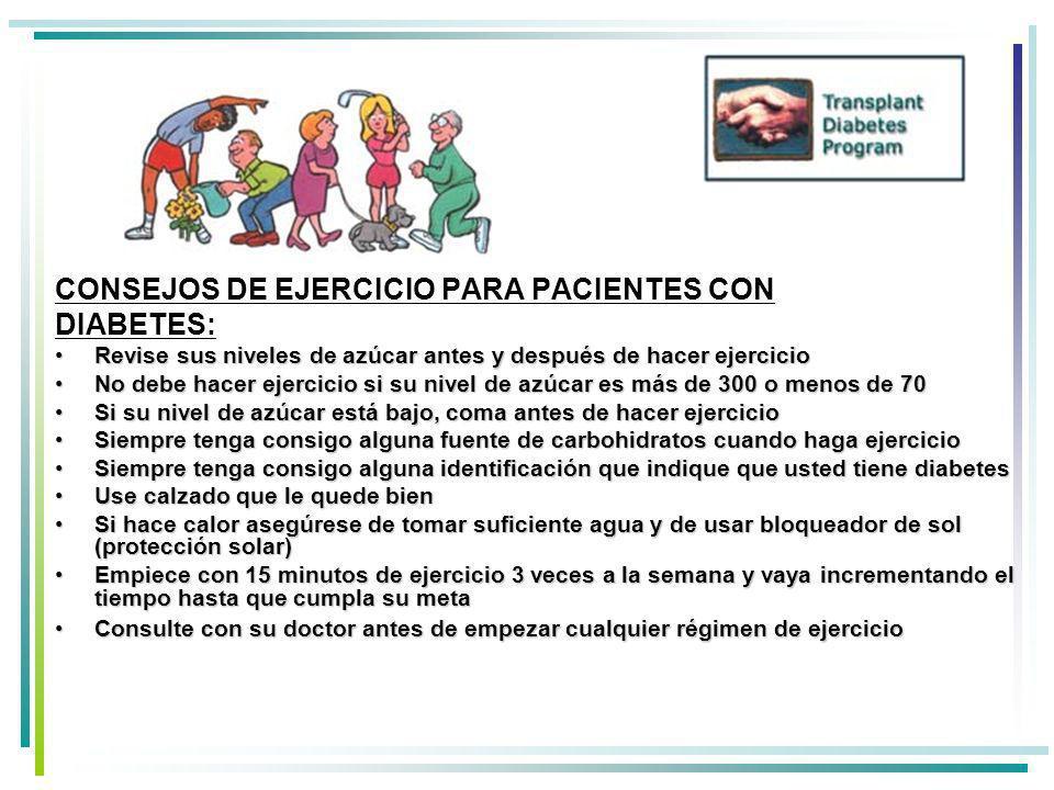 CONSEJOS DE EJERCICIO PARA PACIENTES CON DIABETES: