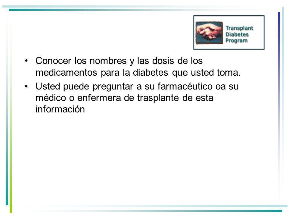 Conocer los nombres y las dosis de los medicamentos para la diabetes que usted toma.