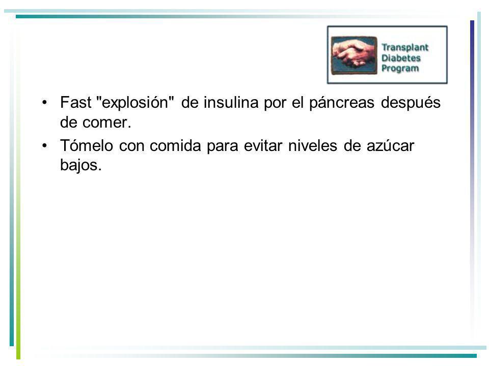 Fast explosión de insulina por el páncreas después de comer.