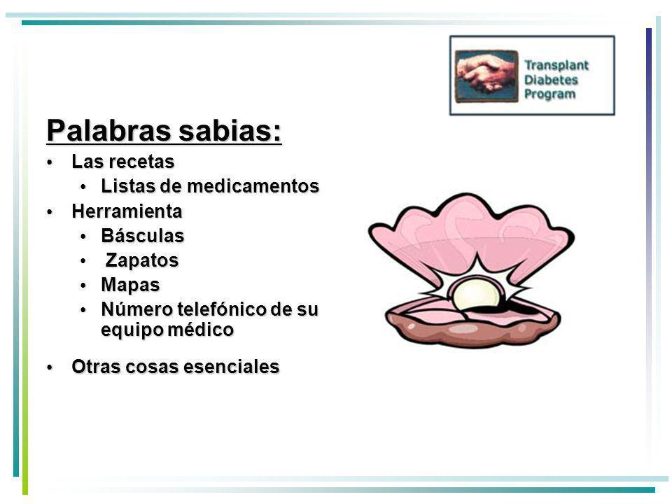 Palabras sabias: Las recetas Listas de medicamentos Herramienta