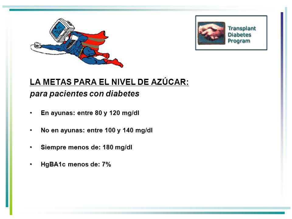 LA METAS PARA EL NIVEL DE AZÚCAR: para pacientes con diabetes