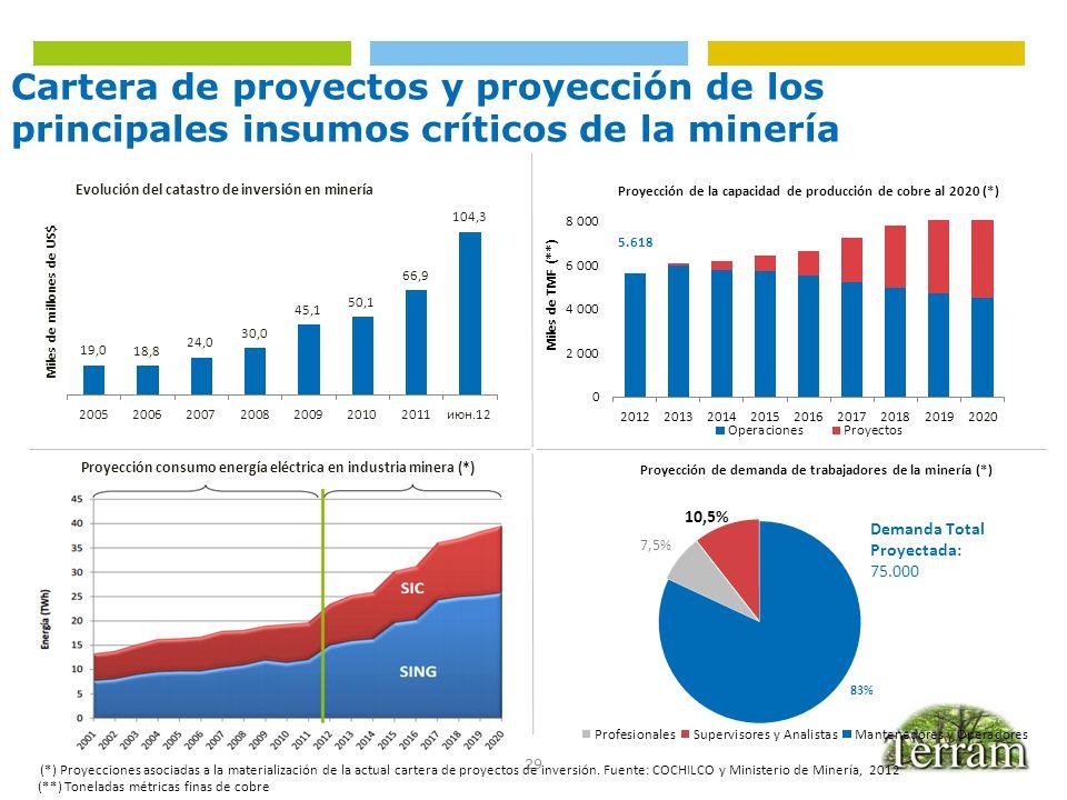 Cartera de proyectos y proyección de los principales insumos críticos de la minería
