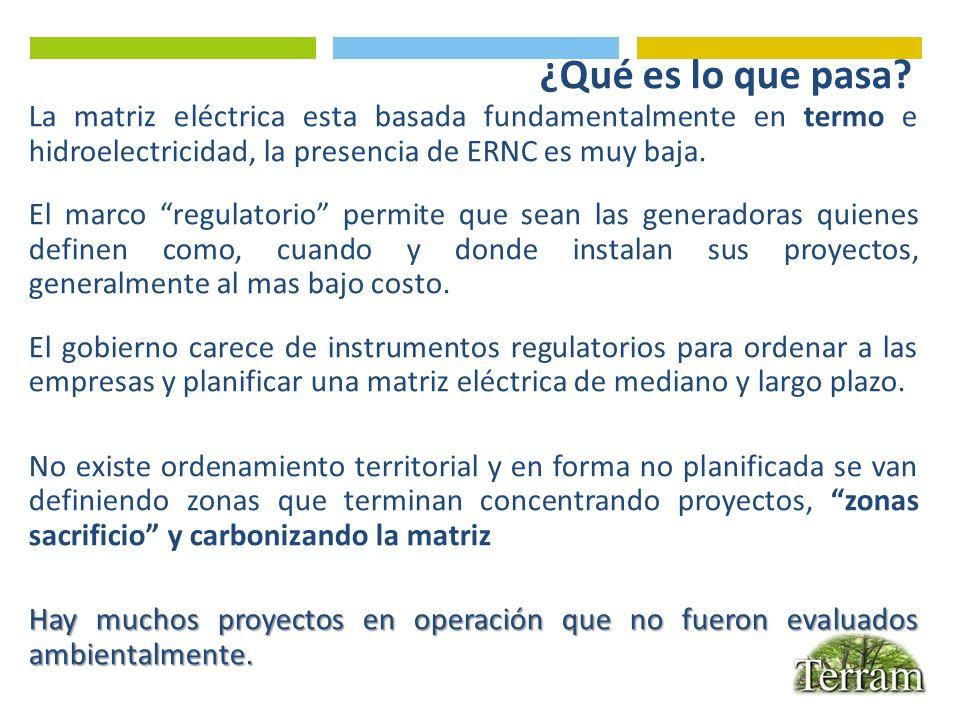 ¿Qué es lo que pasa La matriz eléctrica esta basada fundamentalmente en termo e hidroelectricidad, la presencia de ERNC es muy baja.