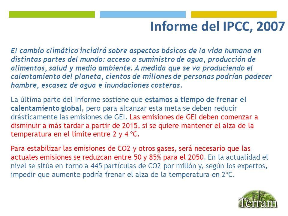 Informe del IPCC, 2007 E. El cambio climático incidirá sobre aspectos básicos de la vida humana en.