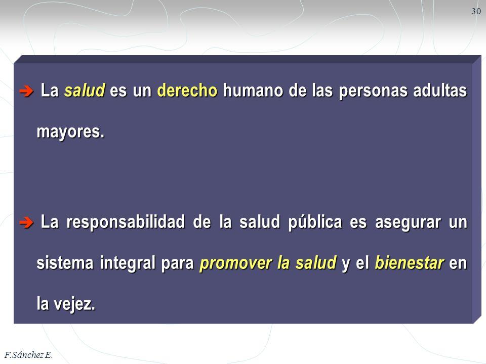 La salud es un derecho humano de las personas adultas mayores.