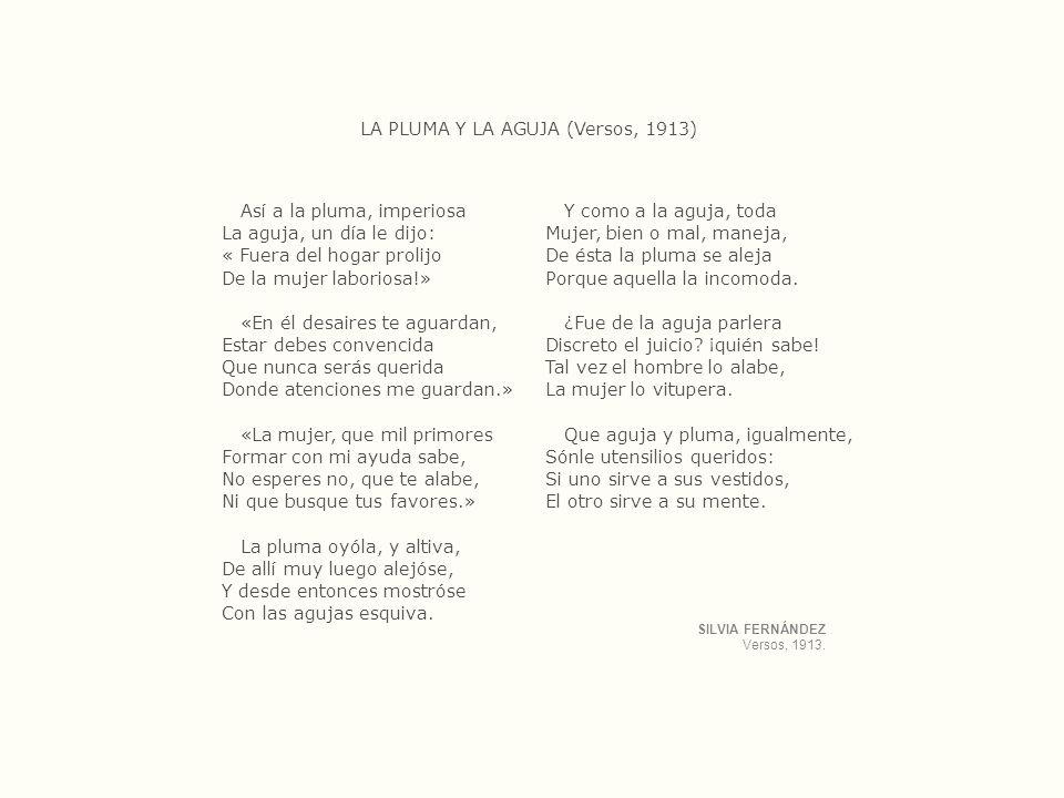 LA PLUMA Y LA AGUJA (Versos, 1913)