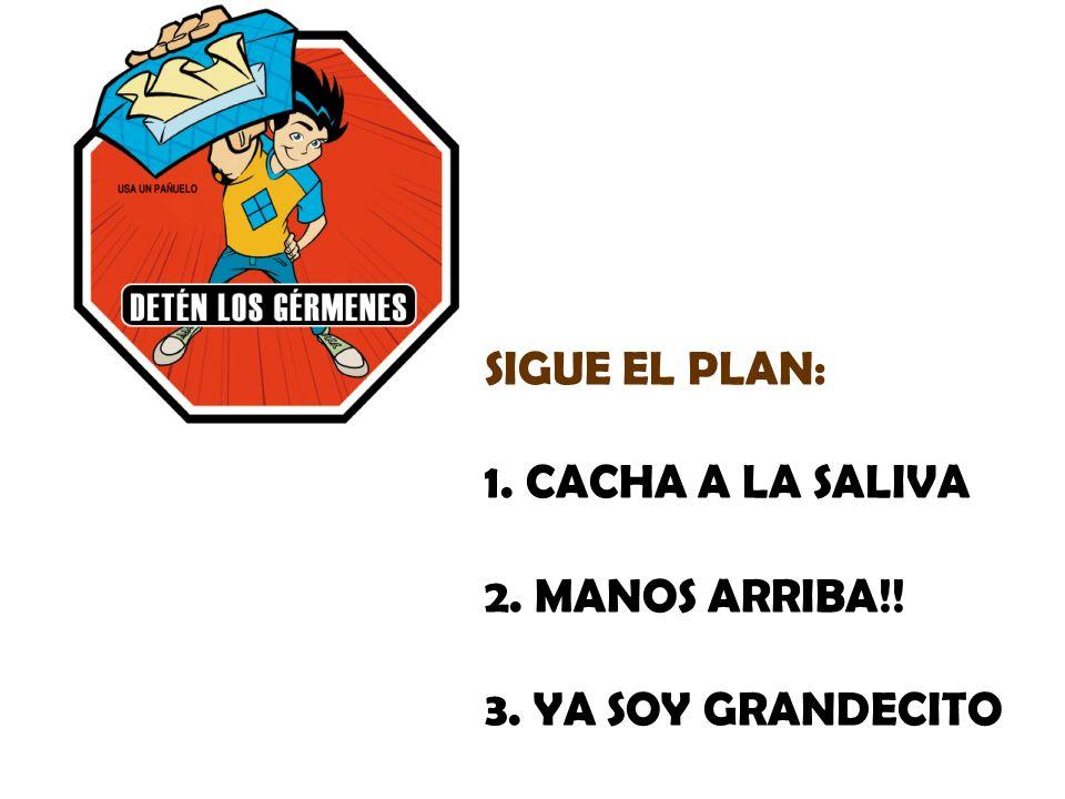 SIGUE EL PLAN: CACHA A LA SALIVA MANOS ARRIBA!! YA SOY GRANDECITO