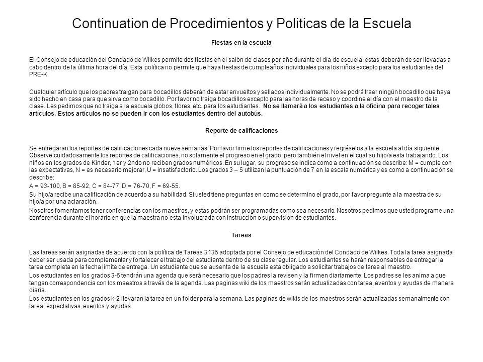 Continuation de Procedimientos y Politicas de la Escuela