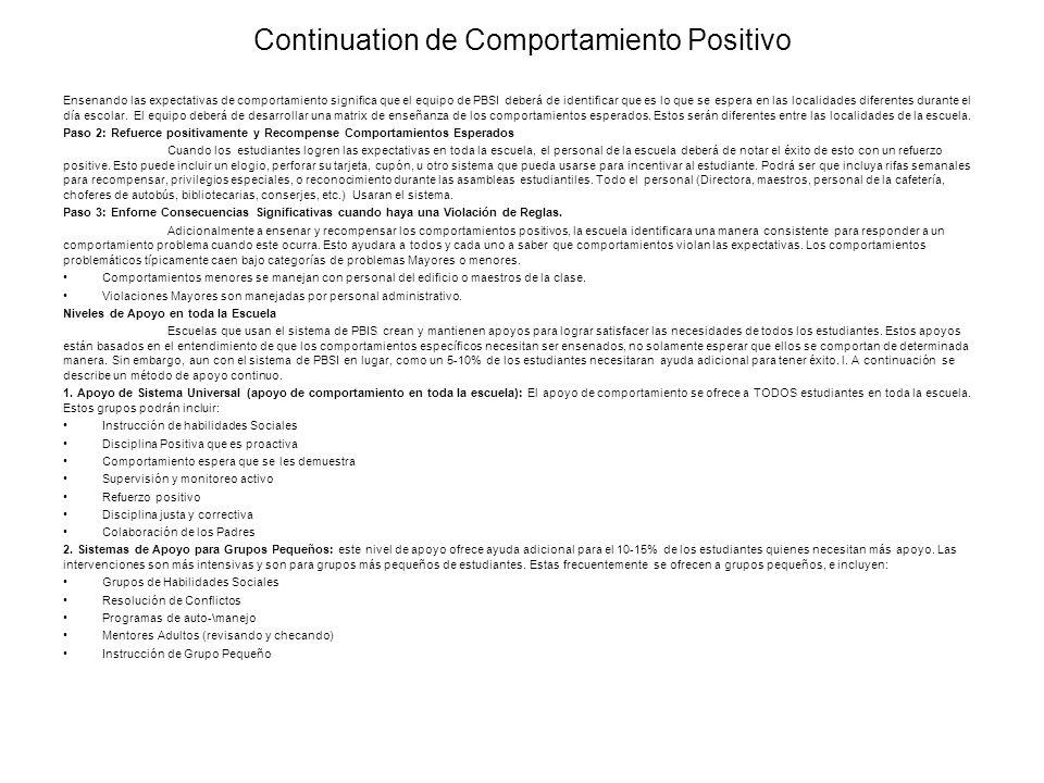 Continuation de Comportamiento Positivo