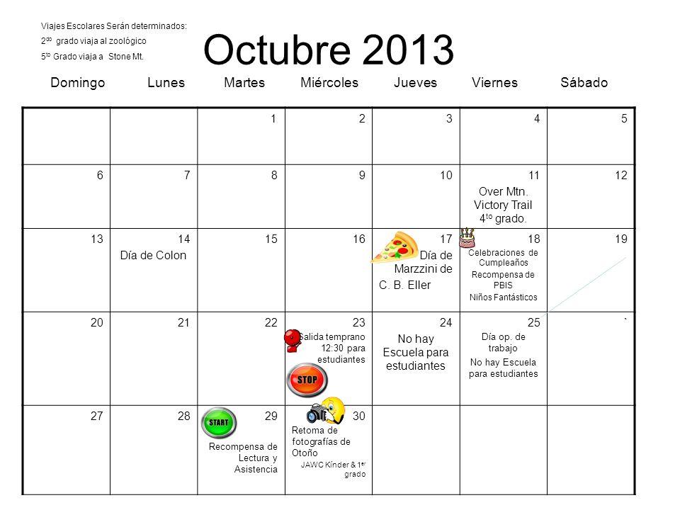 Octubre 2013 Domingo Lunes Martes Miércoles Jueves Viernes Sábado