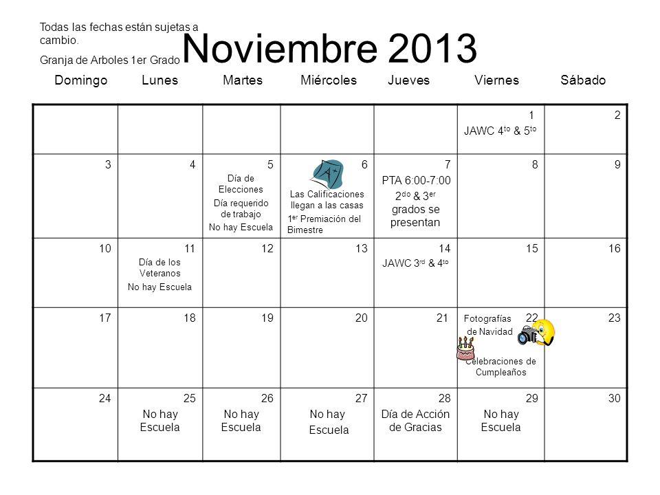 Noviembre 2013 Domingo Lunes Martes Miércoles Jueves Viernes Sábado