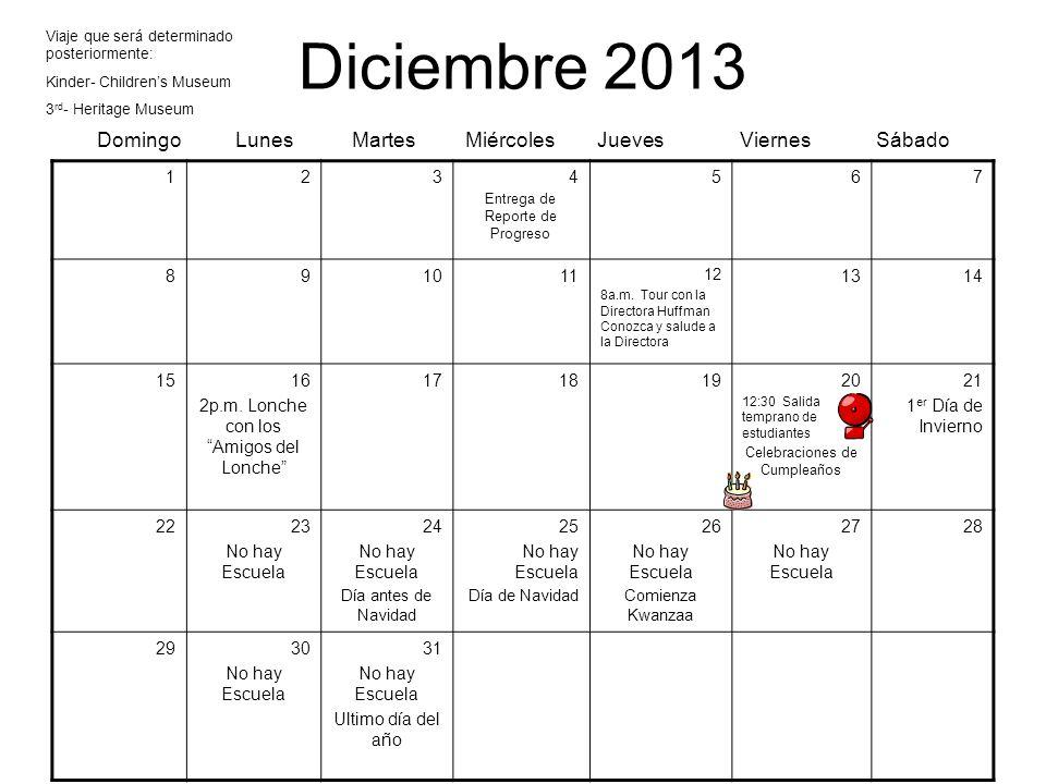 Diciembre 2013 Domingo Lunes Martes Miércoles Jueves Viernes Sábado 1