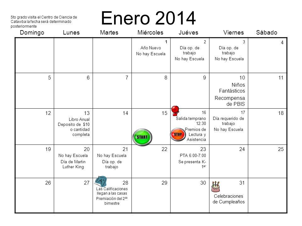 Enero 2014 Domingo Lunes Martes Miércoles Juéves Viernes Sábado