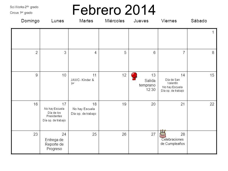 Febrero 2014 Domingo Lunes Martes Miércoles Jueves Viernes Sábado