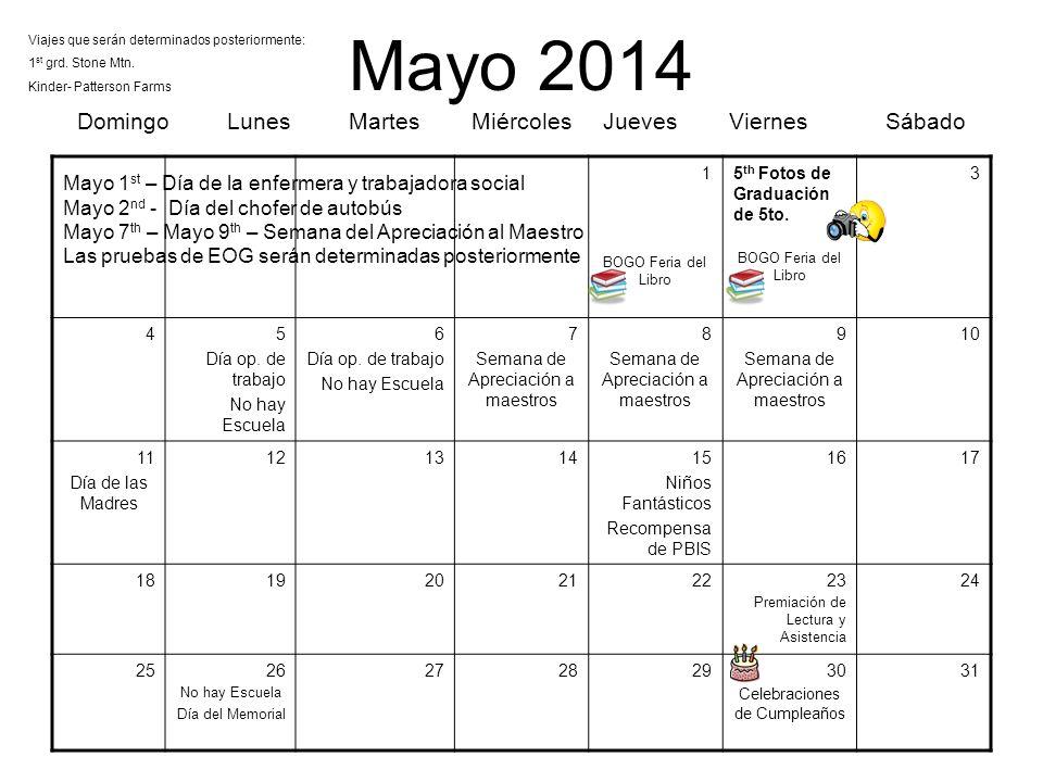 Mayo 2014 Domingo Lunes Martes Miércoles Jueves Viernes Sábado