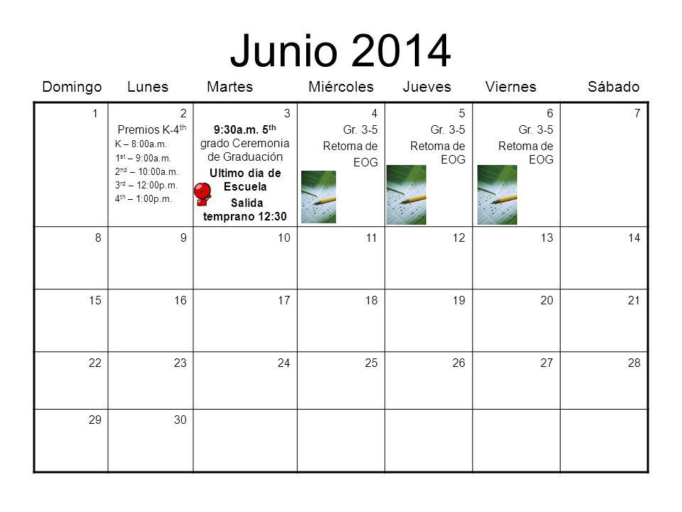 Junio 2014 Domingo Lunes Martes Miércoles Jueves Viernes Sábado