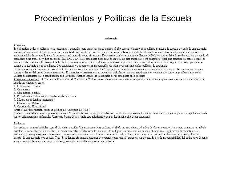 Procedimientos y Politicas de la Escuela