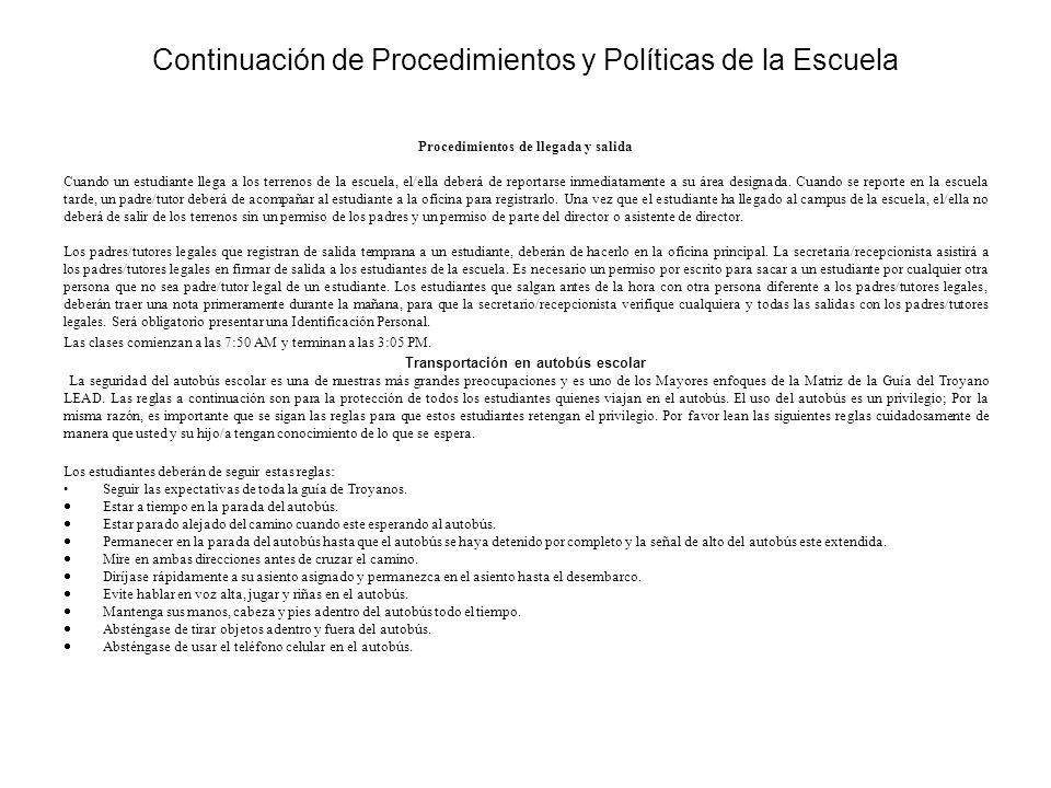 Continuación de Procedimientos y Políticas de la Escuela