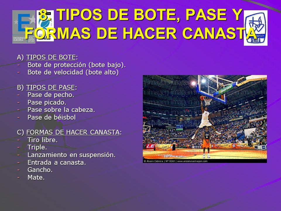8. TIPOS DE BOTE, PASE Y FORMAS DE HACER CANASTA