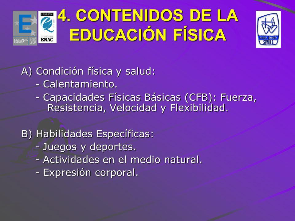 4. CONTENIDOS DE LA EDUCACIÓN FÍSICA
