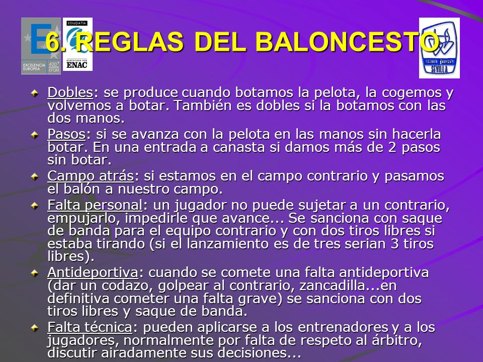 6. REGLAS DEL BALONCESTO