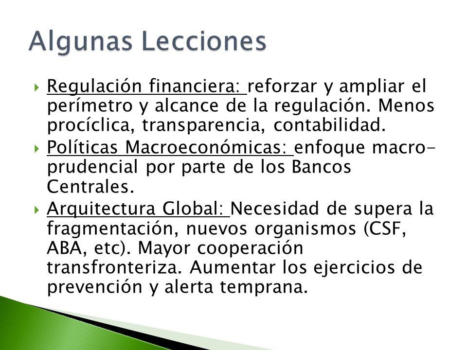 Algunas Lecciones Regulación financiera: reforzar y ampliar el perímetro y alcance de la regulación. Menos procíclica, transparencia, contabilidad.