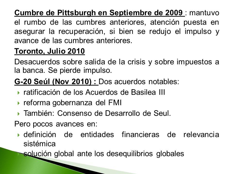 Cumbre de Pittsburgh en Septiembre de 2009 : mantuvo el rumbo de las cumbres anteriores, atención puesta en asegurar la recuperación, si bien se redujo el impulso y avance de las cumbres anteriores.