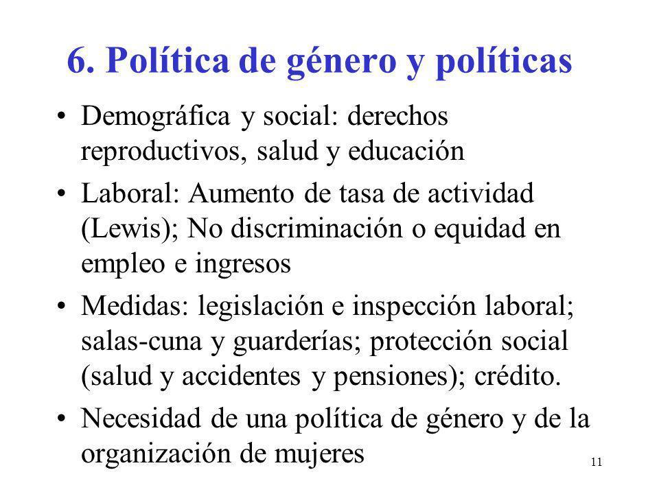 6. Política de género y políticas