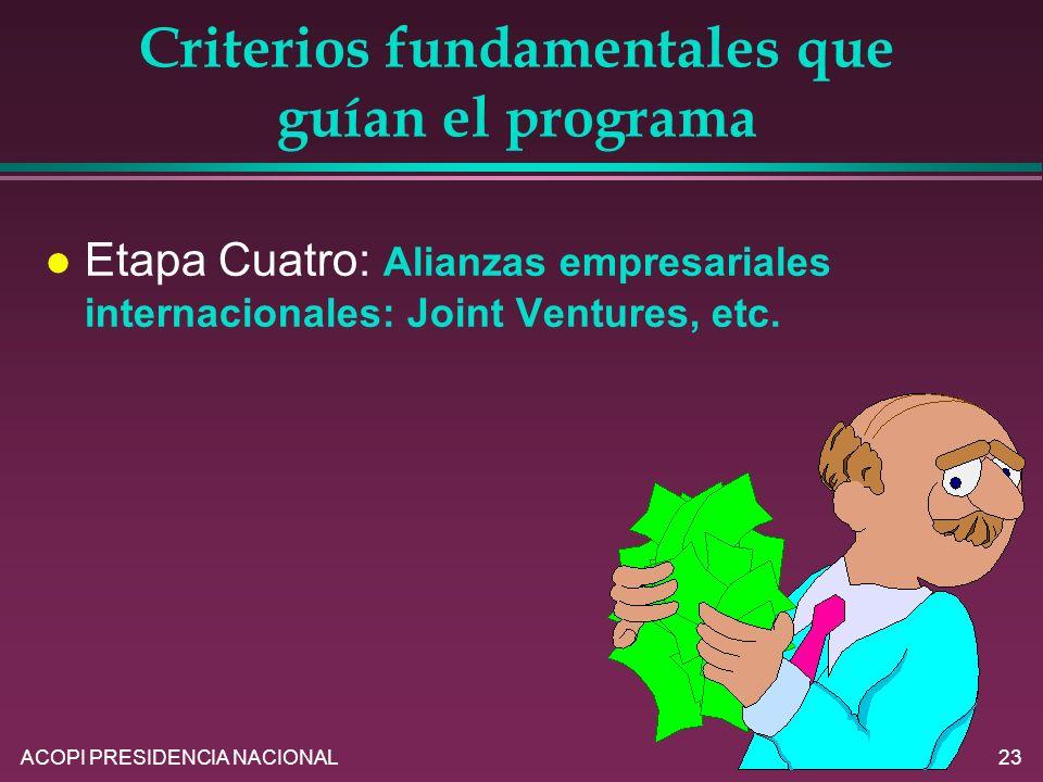 Criterios fundamentales que guían el programa