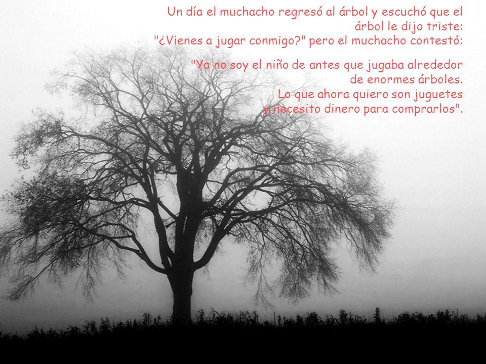 Un día el muchacho regresó al árbol y escuchó que el árbol le dijo triste: ¿Vienes a jugar conmigo pero el muchacho contestó: