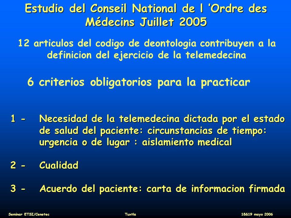 Estudio del Conseil National de l 'Ordre des Médecins Juillet 2005