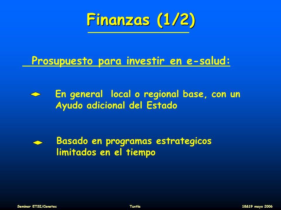 Finanzas (1/2) Prosupuesto para investir en e-salud: