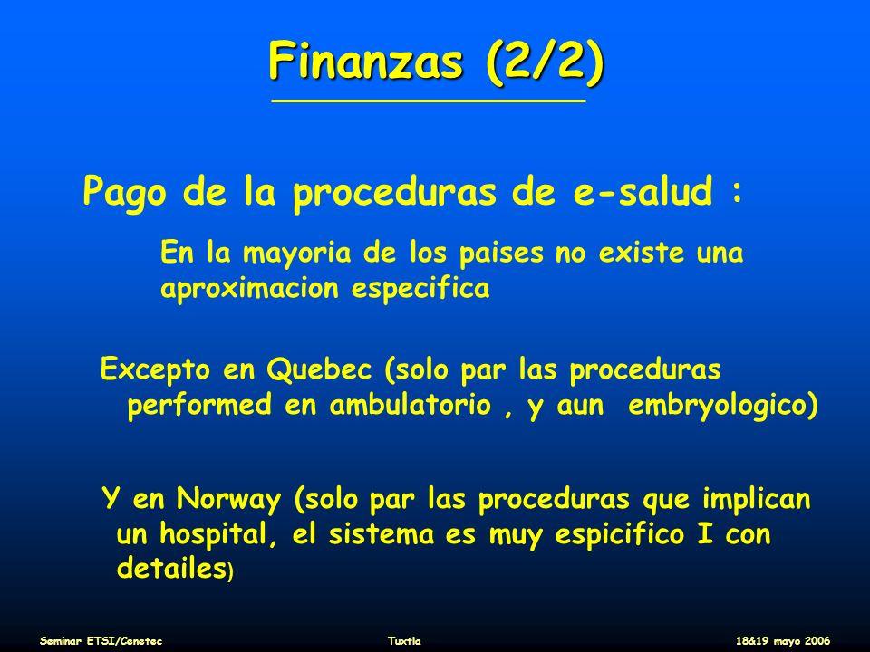 Finanzas (2/2) Pago de la proceduras de e-salud :