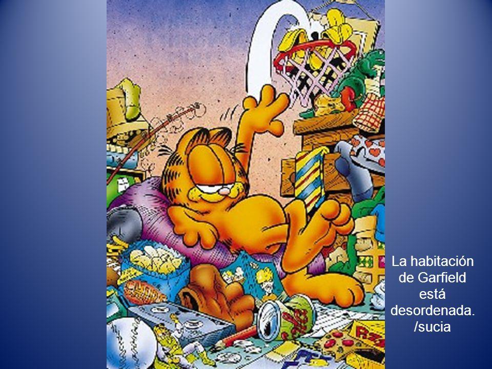 La habitación de Garfield está desordenada./sucia