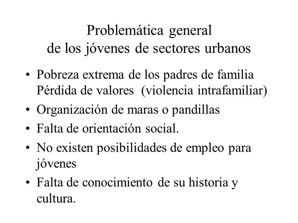Problemática general de los jóvenes de sectores urbanos