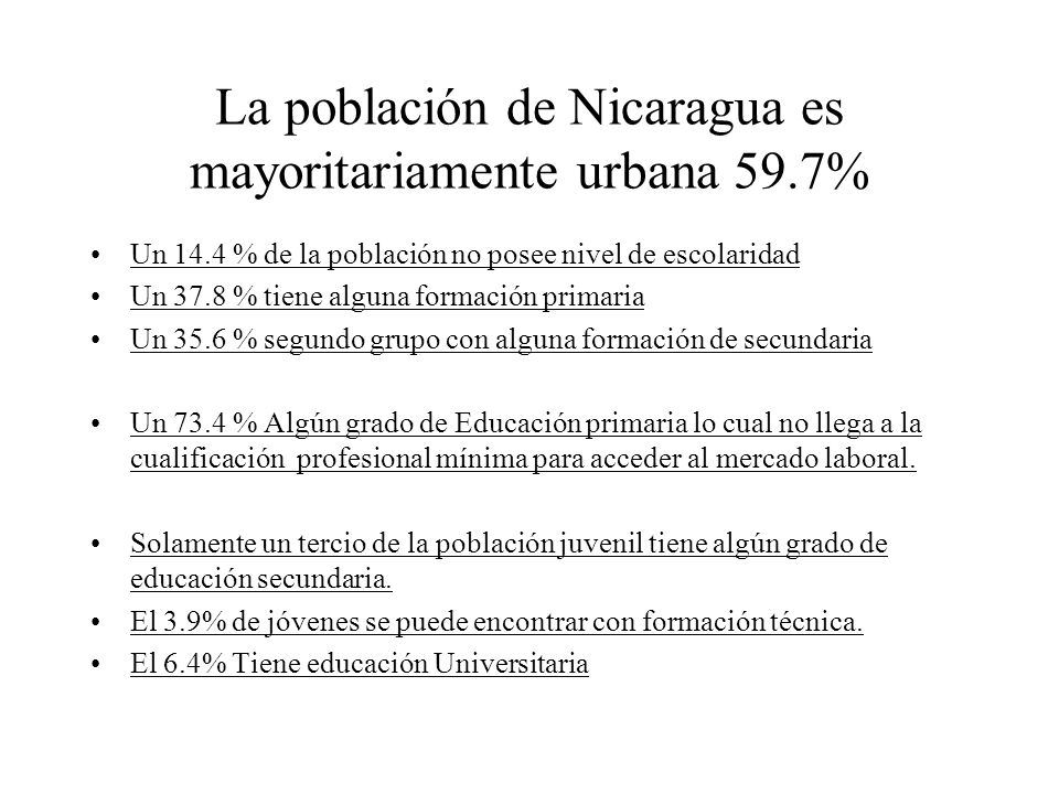 La población de Nicaragua es mayoritariamente urbana 59.7%