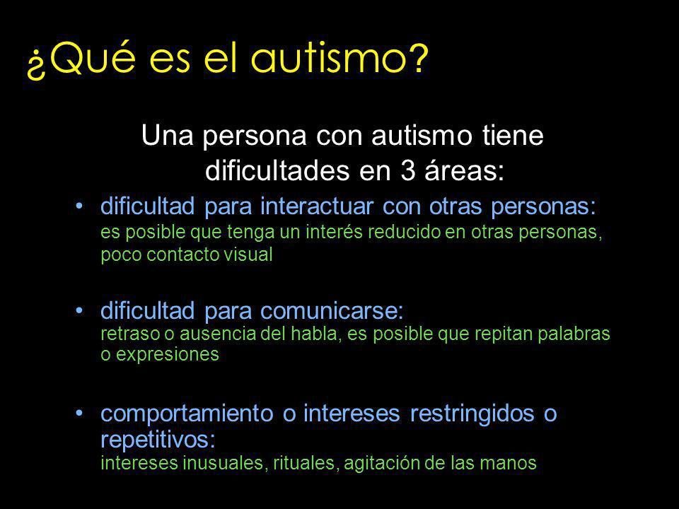 Una persona con autismo tiene dificultades en 3 áreas: